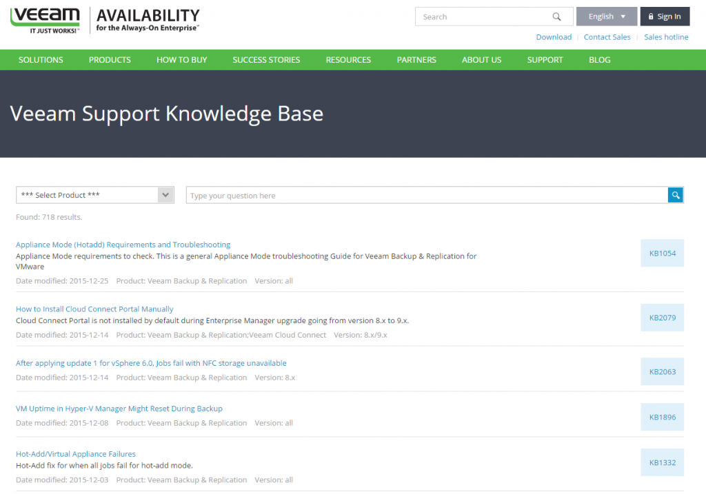 Veeam Support Knowledge Base