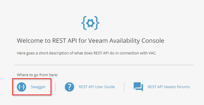 Veeam Availability Console - API (Swagger and Postman